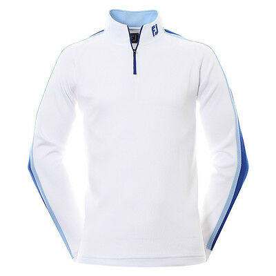 Footjoy Textured Chill Out / Golf Top 92574  White / Blue  Mens 2016