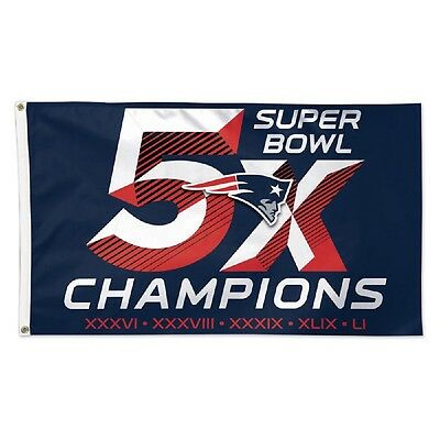 NFL New England Patriots 3' x 5' 5-Times Super Bowl Champions Deluxe Flag Banner