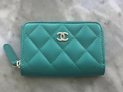 Authentic Chanel Turquoise Zip Coin Purse/compact Wallet