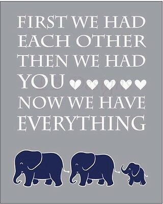 Navy Blue, Gray and White Elephant Nursery Print 8x10