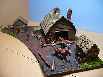 00: VILLAGE BLACKSMITH (WITH HORSES BEING SHOD).  A diorama by Trackside-Scenes