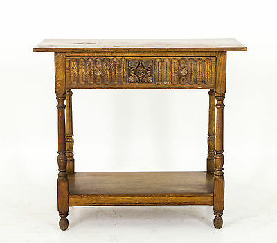 B567 Antique Carved Oak Hall Table with Drawer