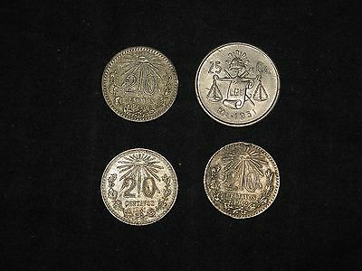 lot of 4 Mexico 20, 25 Centavos silver coins 1937 1941 1942 1951