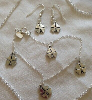 """Lucky Clover Set/Sterling Silver 18"""" Chain&7.5"""" Bracelet/boxed."""