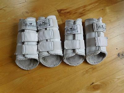 Professional's Choice Leather Sport Splint Horse Boots L & XL White (#78)