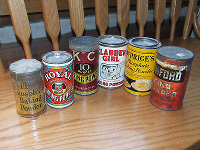 Vintage lot baking soda tins cans Price's, Royal, KC, Clabber Girl, Rumford