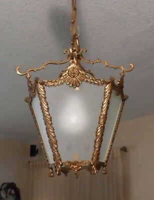 Antique Vtg Brass Etched Frosted Star Glass Chandelier Lantern Hall Hanging Lamp