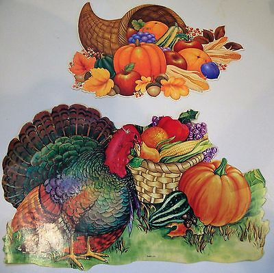 Set Of Vintage Thanksgiving Themed Die Cuts, Turkey, Cornucopia, Pumpkin