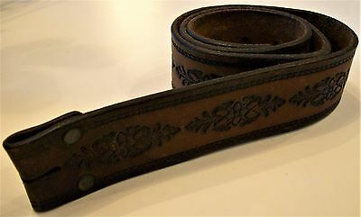 """Vintage Brown Leather Tooled, Embossed Leather Belt, 34 1/4"""" Lots Of Character"""
