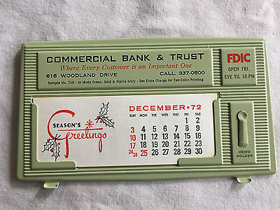 Vintage FDIC Commerical Bank Trust Tin Litho Calendar 1973 advertising salesman