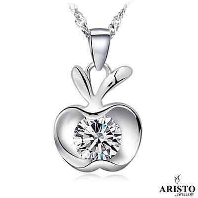 925 Sterling Silver Apple Pendant Necklace Chain Jewellery Set Ladies Gift UK