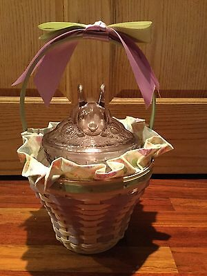 Longaberger Easter Basket Whitewash 2004 With Glass Bunny