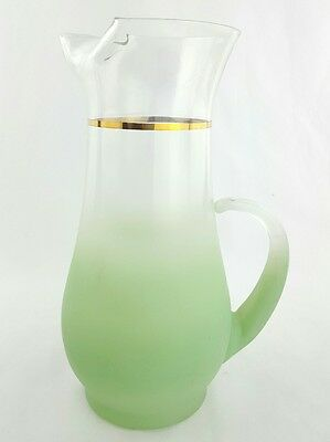 """Blendo Green Glass Pitcher Gold Ring / Band 9"""" Tall Frosted Green and Clear MCM"""