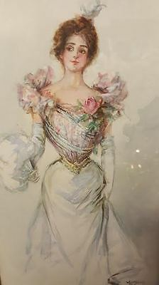 Vantage Watercolor painting of Victorian woman, collectible piece!