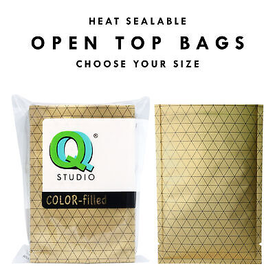 Many Sizes for 100 Flat Gold Aluminum Foil Open Top Bags w/ Black Prism Pattern