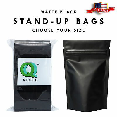 Variety of Sizes for 100pcs Matte Black Metallic Foil Stand-Up Zip Lock Bags