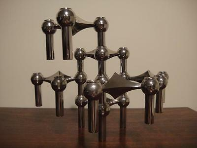 ART DECO EAMES 6 six mid century CANDLESTICKS German STOFFI industrial alloy 50s