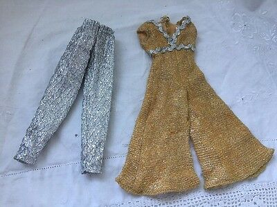 Vintage Knock Off Barbie Doll Clone Outfits SILVER LAME PANTS & Gold Jumpsuit