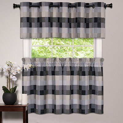 Kitchen Window Curtain Classic Harvard Checkered, Tiers or Valance Black