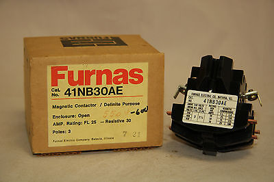 Furnas 41NB30AE Definite Purpose Magnetic Contactor 25 30 Amp 3 Pole 600V Coil