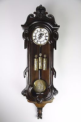 Antique 3 Weight Driven Vienna Wall Clock With Beautiful Theme