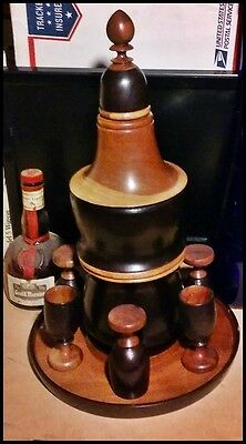 Vintage DOMINICAN COIN Tray Wooden  Liquor Decanter Set 6 Shot Glasses