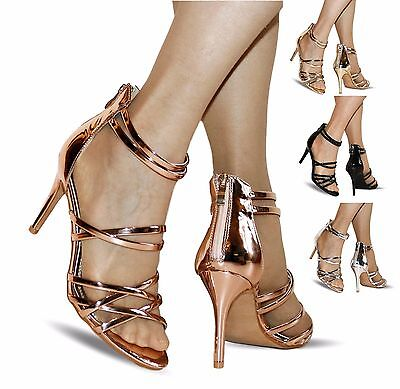 NEW Ladies Party Patent chrome Ankle Straps Low Mid Heel Shoes Sandals Size-06-9