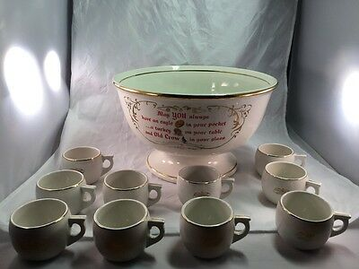 Vintage 1960s Hall China Old Crow Kentucky Whiskey Egg Nog Punch Bowl + 10 cups