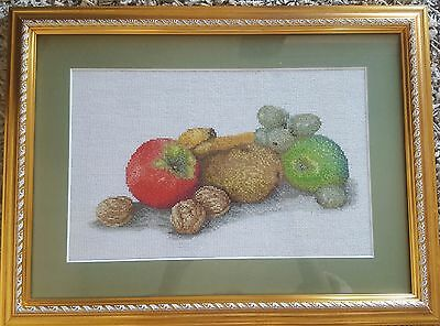 Stunning Handmade Needlepoint Tapestry Fruits Picture Wall Hanging