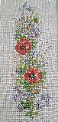 Stunning Handmade Needlepoint Tapestry Flowers Picture Wall Hanging