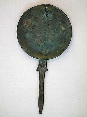 Authentic Ancient Etruscan Bronze Hand  Mirror Circa 5th –2nd century B.C. RARE