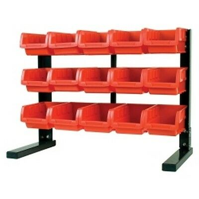 "Table Top Storage Rack, with 15 Red Plastic Bins, Steel Holder, 21-1/4"" W x 16-"