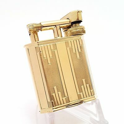 VERY RARE 18K solid gold French petrol lift-arm lighter, engine turned art-deco