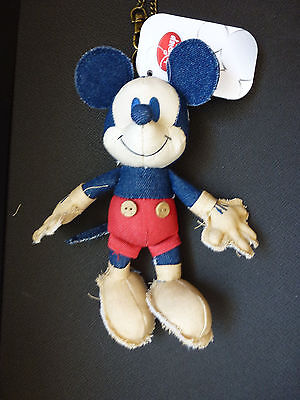 """Authentic Japan Disney Store Exclusive 7"""" Denim Mickey Mouse Plush Keychain NWT"""
