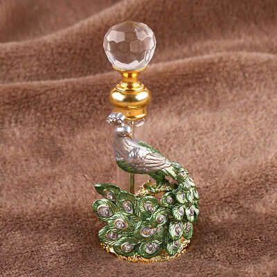 10ml Antique Green & Gold Peacock Vintage Refillable Empty Perfume Bottle Gifts