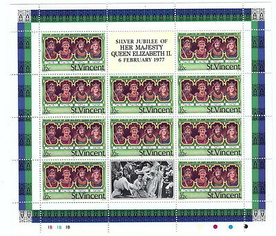 St Vincent - 1977  Silver Jubilee - 1/2c Mini sheet of 10 stamps Unmounted Mint