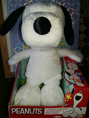 Peanuts Laughing Snoopy Super Soft Plush Toy, Shake For Sounds, Boxed, 12 Inches
