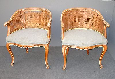 Pair of Vintage French Country Style Cane Club Chairs Fair Condition