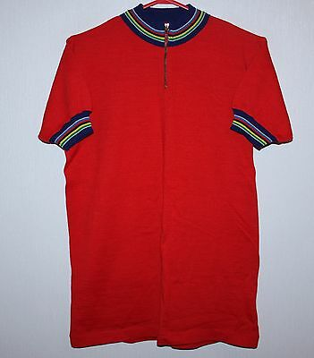Vintage red cycling jersey made in Italy Size 4 80's