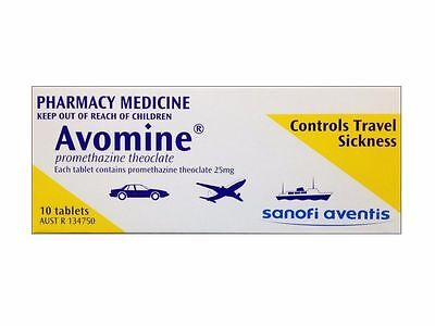 ~ Avomine 25Mg 10 Tablets Controls Travel Sickness