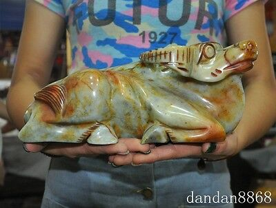 """10""""chinese old jade hand-carved fengshui animal Lying Ox bull oxen cattle statue"""