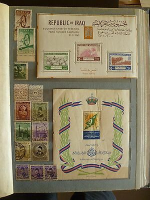 Middle East old stamp collection, including 2 Souvenir Sheets.