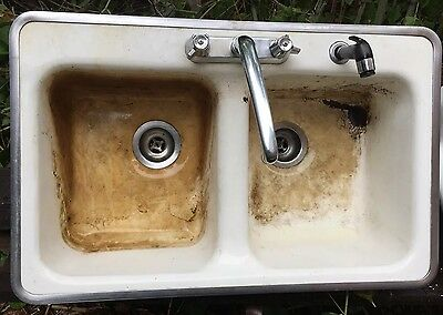 Vintage Farmhouse Kitchen Sink 1950's Cast Iron Double