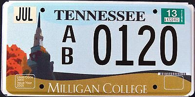 """TENNESSEE """" MILLIGAN COLLEGE """" 2013 TN Graphic License Plate"""