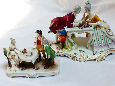 Antique Hand Painted Porcelain Figurines, Marked, Lot of 2