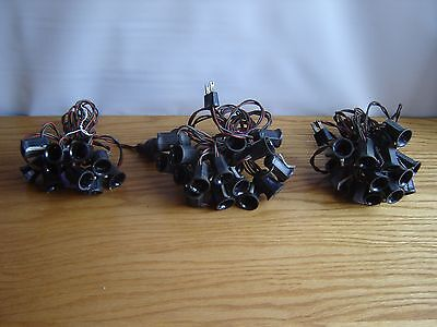 3 Lines of Vintage String Bakelight Christmas Lights, Working (no bulbs) 1950s
