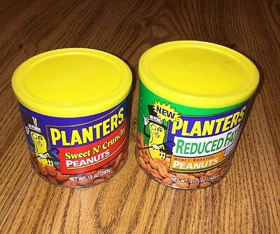 2 FULL Unopened Planters Peanuts Nabisco Era Product Cans Mr Peanut Sweet Honey
