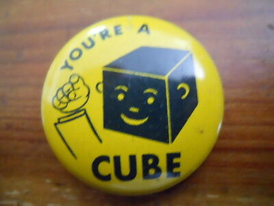 "You're A CUBE yellow cube head 1"" pinback button"
