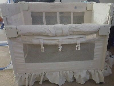 arms reach co sleeper full size bassinet bed size crib natural euc neutral
