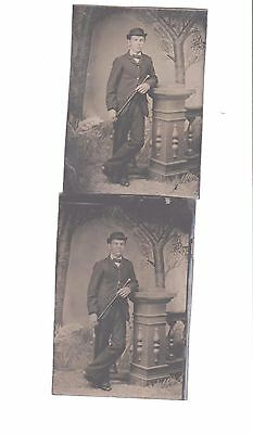 tintype photograph antique lot of 2 same gent with walking stick nice pose